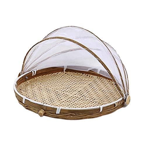 Earthily Handgewebter Zeltkorb - Bambus Zelt Korb, Brot-Korb Picknickkorb für Picknick, Lebensmittelabdeckung, Outdoor, Schutz vor Insekten und Staub, für Obst, Gemüse, Brot, Bambus