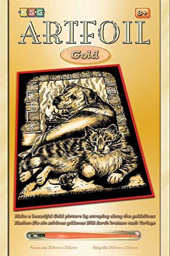 MAMMUT 8260604 - Artfoil, Kratzbild, Tiermotiv, Tierfreunde Hund, Katze, gold, Komplettset mit Kratzbild, Kratzmesser und Anleitung, Scraper, Scratch, Kratzset für Kinder ab 8 Jahre