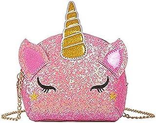 Glitter Sequin Unicorn PU Leather Crossbody Bag Small Purse Shoulder Bag for Toddlers Little Girls Unicorn Handbag(Pink)