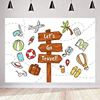 Zhy Let s Go Travel Backdrop for Photography  7x5ft / 2.1x1.5m  World Travel Background  Party Decor Supplies Photo Shooting Props 22