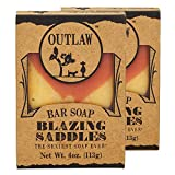 Outlaw Blazing Saddles Handmade Leather-Scented Soap - The Sexiest Soap Ever - Western Leather, Gunpowder, Sandalwood, and Sagebrush - Men's or Women's Bar Soap - 2 Pack