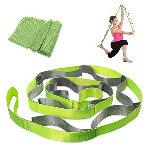 AIPRODA Stretching Straps with 12 Loops and Cooling Towel Combo Set, Best for Physical Therapy, Workout,Pilates,Dance,Yoga and Exercise (Green&Grey)