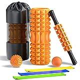 OROROWフォームローラー 筋膜リリース 7セットマッサージローラー ヨガポール ヨガローラー マッサージスティック ストレッチボール ゴムチューブ ストレッチローラー エクササイズチューブ トレーニングチューブ首肩コリ収納バッグ