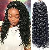 6 Packs Faux Locs Crochet Hair Goddess Locs Crochet Braids Curly Faux Locs Braiding Hair 18 Inch Soft Synthetic Crochet Locs Hair Extensions (18in-6Pcs,1B)