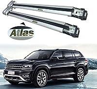 UDP-Auto 2ピース 調節可能なクロスバー クロスバー VW Atlas Teramont 2018 2019 2020 ルーフレール 荷物 キャリア ロック可能なルーフラックバー シルバー