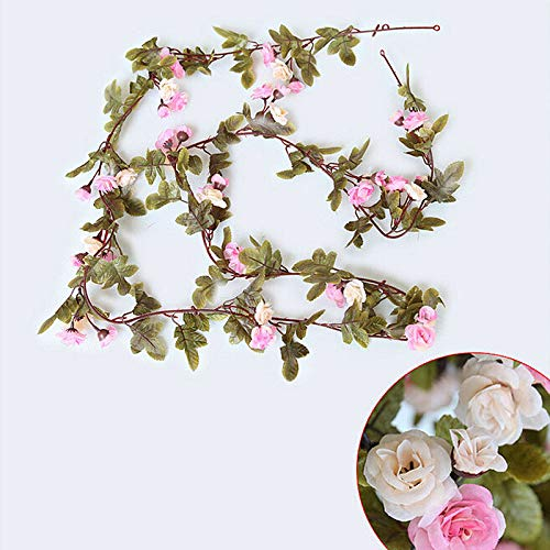 Artificial Rose Vines Fake Silk Rose Flowers Garlands Hanging Rose Ivy Plants for Decor Garden Home Wedding 7inch, 42 Flowers (Light Pink)