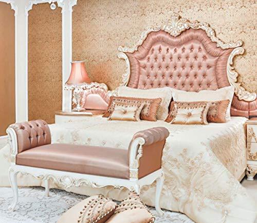 Casa Padrino Barock Doppelbett Rosa/Weiß/Creme/Kupferfarben 200 x 200 x H. 200 cm - Edles Massivholz Bett mit Kopfteil - Prunkvolle Schlafzimmer Möbel im Barockstil