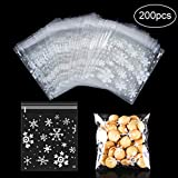 MELLIEX 200 Pièces Sacs de Biscuits de Noël, Flocons de Neige Rescellables Auto-Adhésifs Sac De Rangement de Sachets OPP Cellophane Sacs pour Fournitures de Fête de Noël