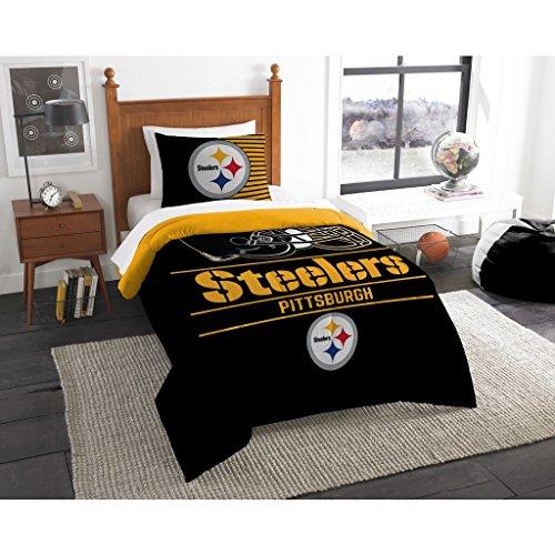 The Northwest Company NFL Pittsburgh Steelers Unisex 'Draft' Twin Comforter and Sham Set, Black, Twin , 64'x86' / 24'x30'