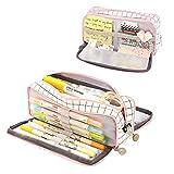 Coolzon Estuche Escolar con 3 Compartimentos, Estuches de Lápices de Gran Capacidad Estuche Organizador Portalapices Neceser Maquillaje para Niñas Niños Adolescentes Estudiantes Adultos, Blanco y rosa