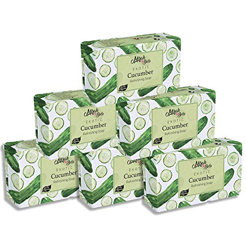 Mirah Belle - Cucumber Refreshing Soap (Pack of 6 - 125 GMS) - Skin Lightening and Brightening - Refreshes and Cools Skin - Handmade, Organic and Cruelty Free - 750 gm