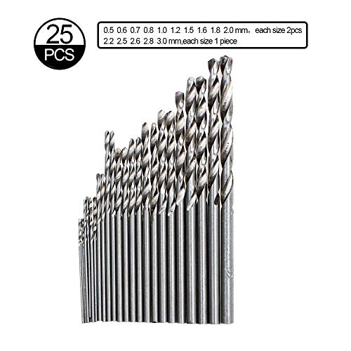 Precision Pin Vise Hand Drill with 25pcs Micro Twist Drill Bits Set (0.5-3.0mm) Mini Hand Drill Rotary Tool for PCB,Metal,Wood,Jewelry,Plastic,Resin Manual Making DIY Assembling Drilling