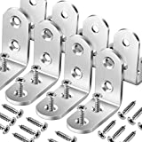 8 PCS Heave Duty Corner Brace, FANDAMEI 40x40mm Stainless Steel Joint Right Angle Brackets with Screws, 90 Degree Wall Brackets Hanger for Shelves, Tables,Dressers&Chairs Silver