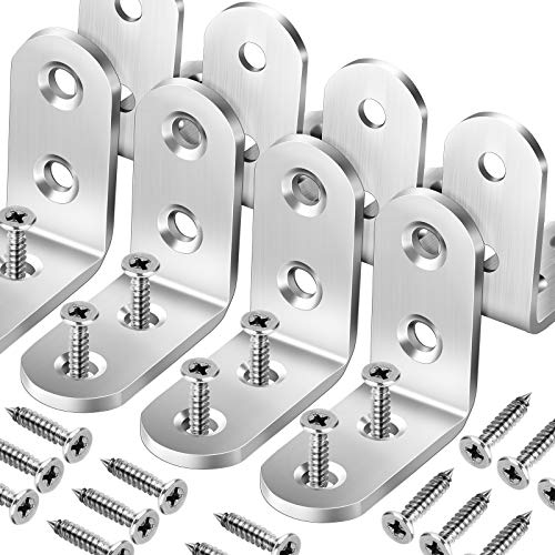 8 PCS Heavy Duty Corner Brace, FANDAMEI 40x40mm Stainless Steel Joint Right Angle Brackets with Screws, 90 Degree Wall Brackets Hanger for Shelves, Tables, Dressers, Chairs, Silver