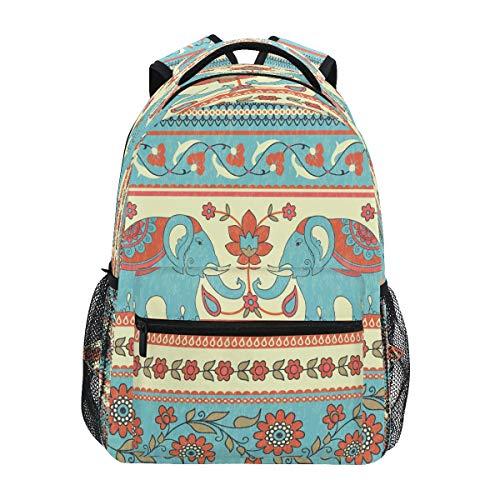 HaJie Backpack Tribal Mandala Flower Animal Elephant Travel Daypack Large Capacity Rucksack Casual School Book Bag Shoulder Straps Computer Laptop Bag for Womens Mens Teenage Girls Boys