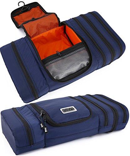 Pro Packaging Cubes Trousse de toilette de voyage – Pack plat pour économiser de l'espace – Trousse de toilette étanche à suspendre pour homme et femme – Orange marin