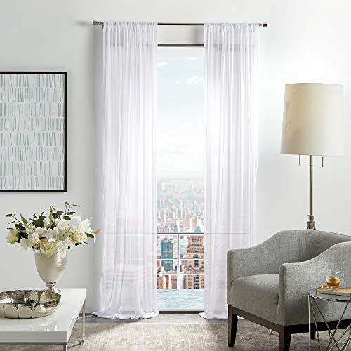 "MARTHA STEWART Glacier Sheer Rod Pocket Window Curtain Panel Pair, 84"", White"