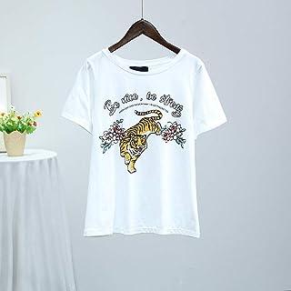 VM 2018夏季新款韩版圆领短袖老虎字母印花纯棉T恤上衣女