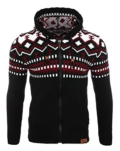 Reslad Herren Grobstrick Norweger Winter Strickjacke mit Kapuze RS-3104 Schwarz L