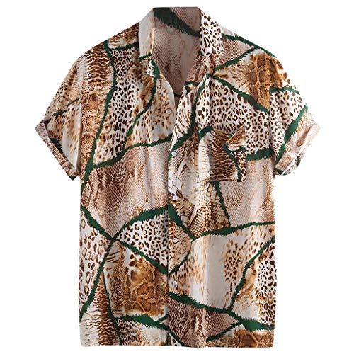 CAOCAO - Camisa con Estampado de mármol de Leopardo para Hombres Bolsillo en el Pecho Bajar el Cuello Manga Corta Camisa Holgada Informal