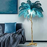 Simple Light Luxury Floor Lamp 1.7m Resin Ostrich Feather Floor Lamp Bedroom Bedside Lamp 35 Peacock Blue Feathers Warm Home Dec Suitable for Garden Decoration Lighting