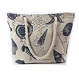 Lalia Einkaufstasche aus Baumwolle Muschel Strandtasche, XL, 46x32x14cm Reisetasche, Yoga Mandala...