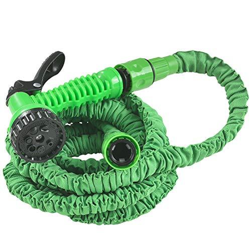 Juskys Flexibler Gartenschlauch Aqua mit Multifunktionsbrause | 7,5 m | Adapter 1/2 Zoll & 3/4 Zoll | grün | Wasserschlauch Bewässerungsschlauch