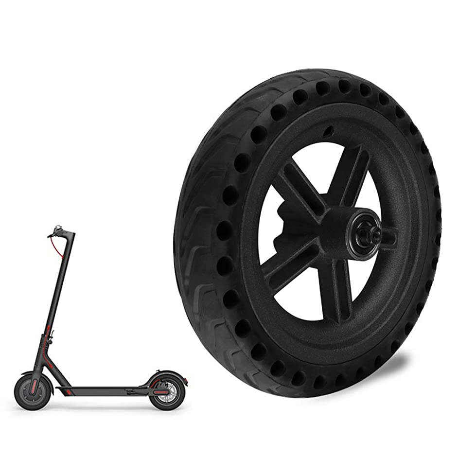 Walmeck- Electric Scooter Tire Damping Solid Tyre Aluminum Rear Wheel Hub for Xiaomi M365 Scooter