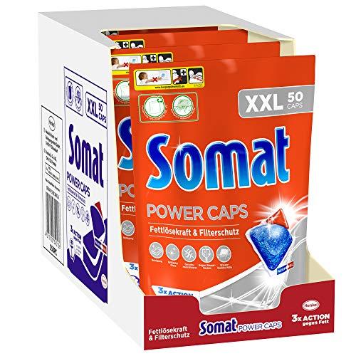 Somat Power Caps, Spülmaschinentabs, 200 (4 x 50) Tabs mit kraftvoller Reinigung und Filterschutz