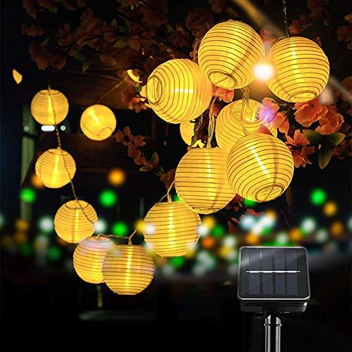 LED Guirnaldas de Luces,Solar Farol farolillos 6m 30 LED Farol solar luz cadena,Guirnalda Luces Exterior LED Linternas Farolillos resistente al agua Decoración para Jardín,Navidad,Terraza,Fiestas