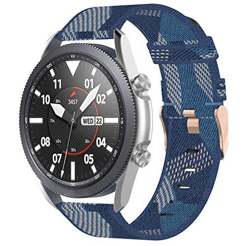 Disscool Correa de repuesto para Samsung Galaxy Watch 3 (45mm-R840)/ticwatch Pro 2020,22mm hecha de nailon (azul)