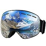 TOPELEK Maschere da Sci Antiappannamente per Adulto,Maschere da Snowboard,Protezione UV400,Lente Sferica a Doppio Strato Rimovibile,Sistema di Ventilazione Aggiornato Grigio