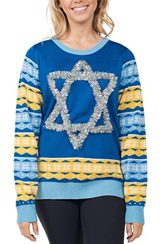 Tipsy Elves Women's Tacky Ugly Hanukkah Sweater - Star of David Chanuka Sweater: M Blue