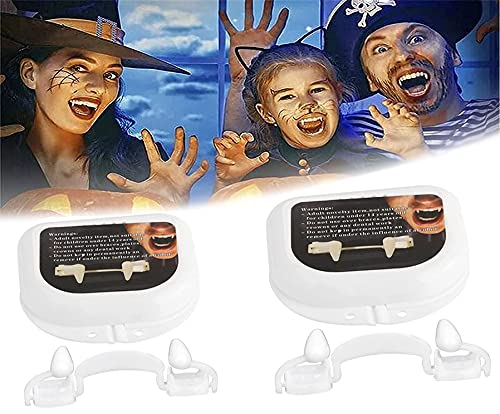 MRLZLT Halloween Party Cosplay Vampire Fangs Retractable Teeth Dress Costume Tooth 2 Boxes