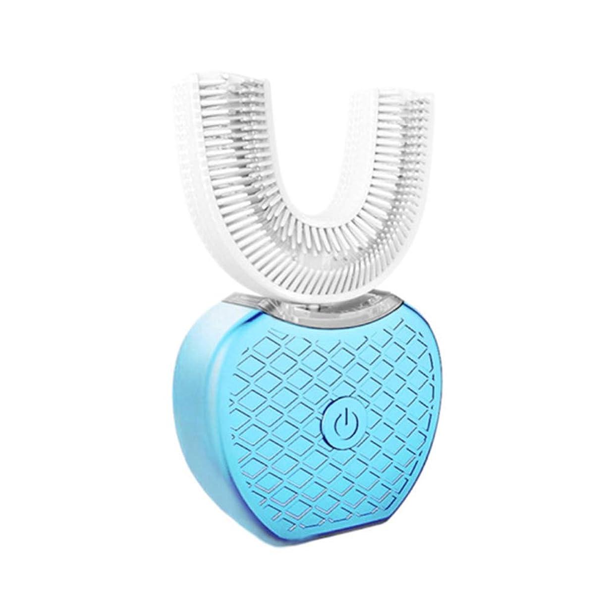 熱帯のランダムアジテーション全自動電動歯ブラシ、360°超音波歯、冷光、装置を白くする - 4つの任意モード、無線充満ドック,Blue