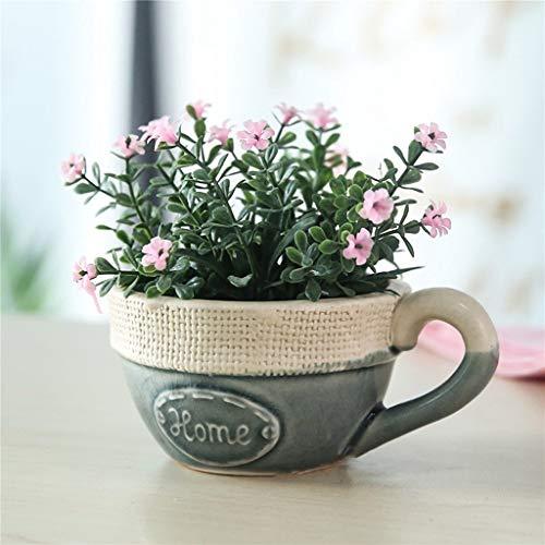 Wuzhengzhijia Keramik-kreativer Hauptblumentopf, landwirtschaftliche Art Dekoration Imitation Sackcloth Kaffeetasse Saftige Keramik Blumentopf Büro-Dekoration