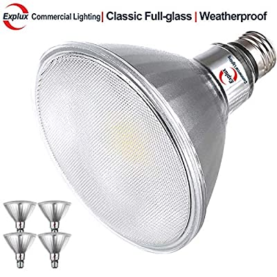 Explux Dimmable Classic Full Glass 120W Equivalent PAR38 LED Flood Light Bulbs