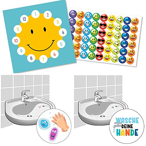 Spielbogen zur Belohnung für das Händewaschen für Kinder Belohnungstafel Sonne mit lustigen Smileys