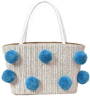 TOOGOO Summer New Korean Straw Small Bag Handbag Color Hair Ball Cute Bag Beach Bag Handbag Black