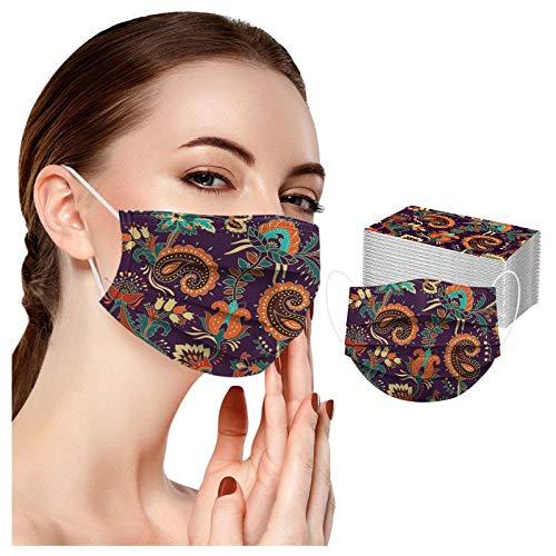 RUITOTP 1pc Erwachsene Frauen Männer Gesicht Beschützer Mode Einweg Universal Blume Digitaldruck 3Ply Ohr Schleife Bandanas