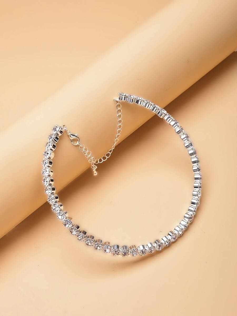 Hangarone Necklace Pendant Rhinestone Decor Choker (Color : Silv