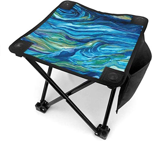 liang4268 Camping Hocker North American Wildlife Abstract Ocean Folding Camping Stool Small Portable Camp Chair for Fishing Hiking Gardening Beach with Carry Bag.