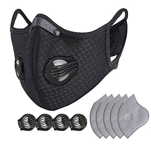 Mascarilla deportiva contra el polvo para ciclistas y actividades al aire libre, lavable, con 5 filtros de carbón activo y 4 válvulas de repuesto, color negro