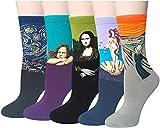 iwobi Pinturas Famosas Calcetines, Mujer Calcetines Ocasionales Divertidos Impresos de Algodón de Pintura, Calcetines Divertidos 5 Pares