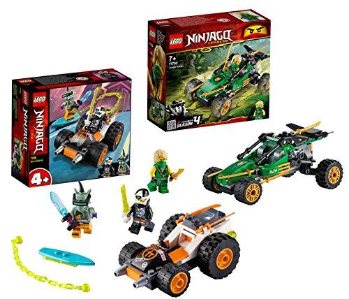 Lego NINJAGO-Set: 71700 Legacy Lloyds Dschungelräuber Auto mit Minifigur Lloyd + 71706 Coles Speeder, ab 4...