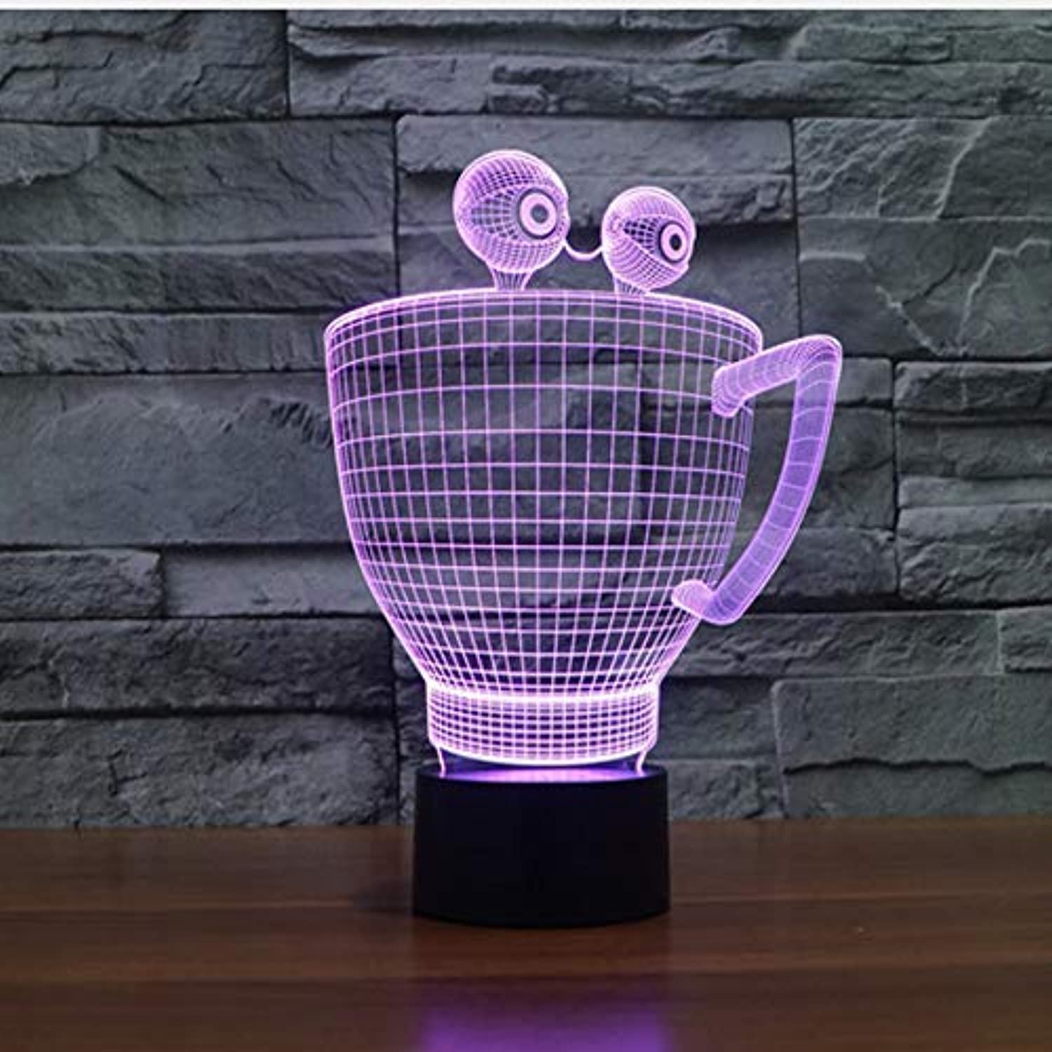BMY Creativ3D Illusion Lamp Cup Shape Led Night Light Table Lamp USB 7 color Changin3D Night Light Acrylic Atmosphere Lamp