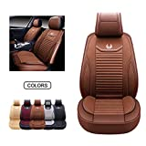 OASIS AUTO Leather&Fabric Car Seat Covers, Faux Leatherette Automotive Vehicle Cushion Cover for Cars SUV Pick-up Truck Universal Fit Set Auto Interior Accessories (OS-008 Front Pairs, Brown)