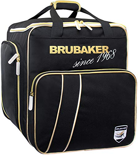 BRUBAKER 'Super Grenoble' - Sac à Chaussures de Ski/Sac Casque/Sac à Dos - Système de Transport Intelligent - Noir/Doré