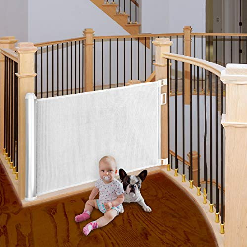 New Retractable Baby Gate - Wide Mesh Safety Pet Gate (Up to 51 Inches) for Children, Dogs for Stairs, Doorways, Stairways, Indoor and Outdoor Use.