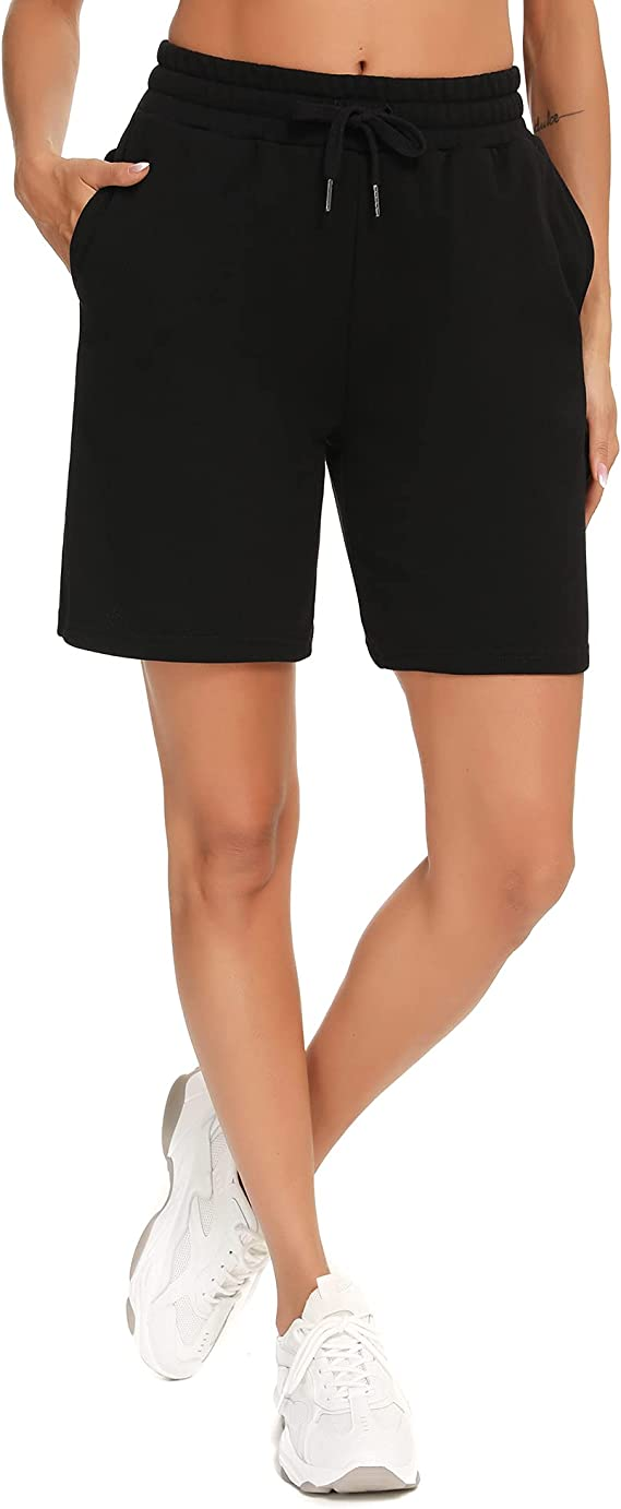 FITTIN Women's Athletic Shorts - High-Waisted Bermuda Long Shorts Running Yoga Lounge Workout with Pockets